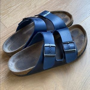 Navy Arizona Birkenstocks 38